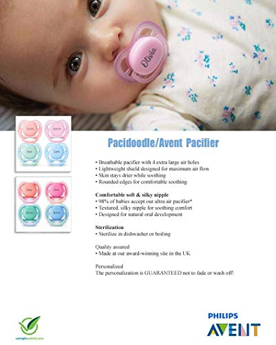 Personalized Avent Pacifier by Pacidoodle - Customize (Pink 0-6m)