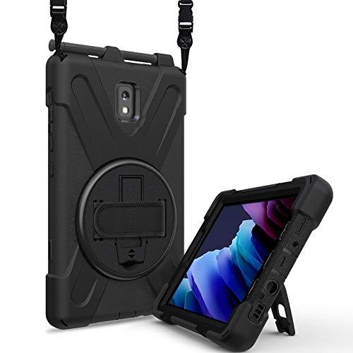 TH000 Funda resistente para Samsung Galaxy Tab Active3 resistente a los golpes con correa giratoria de la palma de 360 grados, soporte de soporte, correa de hombro ajustable, soporte para bolígrafo S