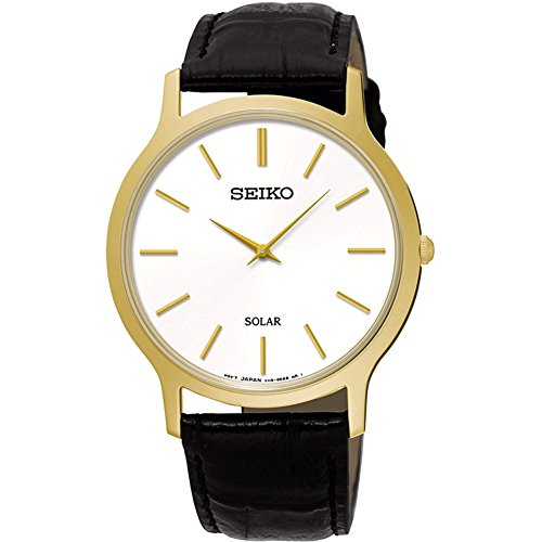SEIKO SUP872P1,Men's Solar Quartz,Gold tone Stainless steel Case,Leather Strap,30m WR,SUP872
