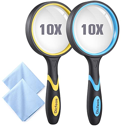 Dicfeos 2 Pack Magnifying Glass, 10X Handheld Reading Magnifier for Kids and Seniors, 3 Inch Non-Scratch Quality Glass Lens, Shatterproof Design, Microfibre Cleaning Cloth Included