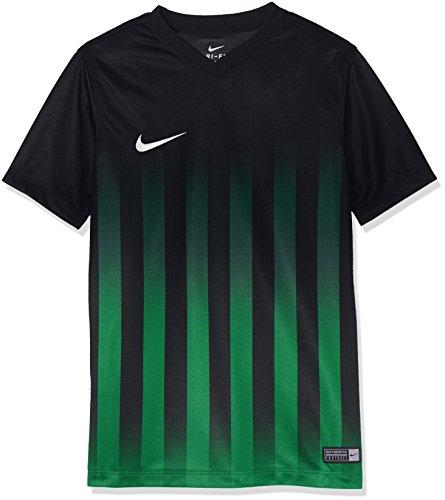 Nike Kinder Striped Division II SS Jersey Youth Trikot, Black/Pine Green/White, XS