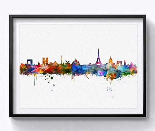 Paris Watercolor Skyline Art Print Cityspace Landscape Paiting Wall Art Skyline Design Home Paris Wall Decor 8x10 Inch Without Frame