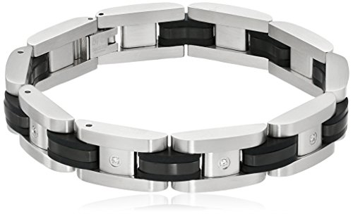 Stainless Steel Link Bracelet with Black Plating and Diamond Accent