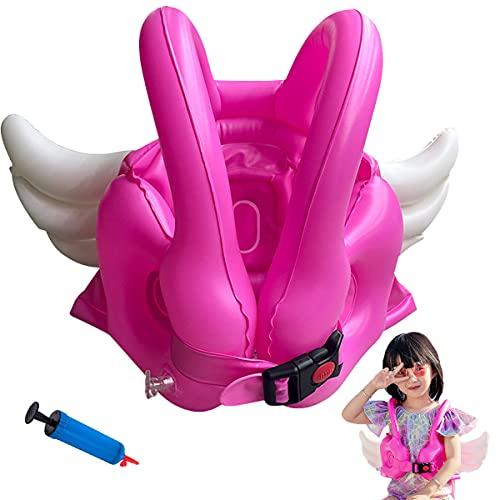 Nesloonp Chaleco Hinchable Niños Flotador anillo de natación para bebé schaleco salvavidas alas de ángel cinturón de seguridad ajustable para niños pequeños de 2 a 4 años/38 libras, niños niña