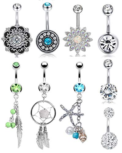 FIBO STEEL 9 Pcs Dangle Belly Button Rings for Women Girls 316L Surgical Steel Curved Navel Barbell Body Jewelry Piercing