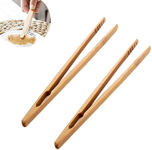 YIDAINLINE 2x Pince à Toasts Pince à Pain Grillé Pince de Cuisine en Bambou pour Grille-Pains Baguettes 18cm