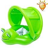Katyma Aufblasbare Schwimmring Baby Pool Schwimmreifen Schwimmhilfen Wasserspielzeug mit Frosch Baldachin für Kleinkind Pool Strand Party