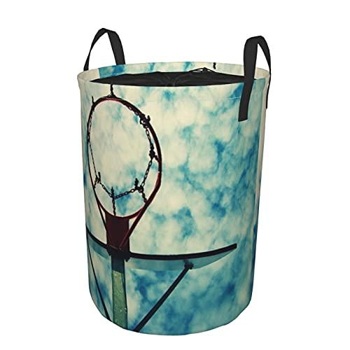 Cesto de ropa sucia plegable impermeable redondo,Antiguo tablero de baloncesto de negligencia con aro oxidado por encima de la calle Cancha Azul cielo nublado Oficina en casa,19'x14'