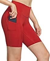 TSLA Women's High Waisted Bike Shorts, Workout Running Yoga Shorts with Pocket(Side/Hidden), Athletic Stretch Exercise...