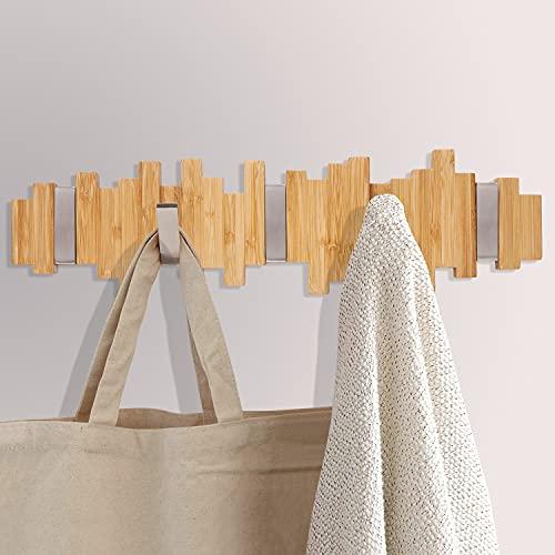 HAIPUSEN Wandgarderobe aus Holz – Hakenleiste Garderobenhaken mit 5 Ausklappbare Metall Haken für Mäntel, Jacken, Hüte, Taschen, Flur, Schlafzimmer, Badezimmer 40cm