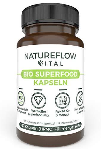Antioxidantien Vitamine Superfoods Gerstengras Weizengras - Natureflow Vital Bio Superfood Kapseln Nahrungsergänzungsmittel Superfood Pulver