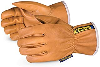 Superior 378GOBKL Endura WaterStop/Oilbloc Goat Grain Leather Drivers Glove with Kevlar Lined, Work, Cut Resistant, Medium (Pack of 1 Pair)