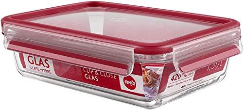 Emsa 4 er Set CLIP & CLOSE GLAS Frischhaltedose, rechteckig, 1,3 L