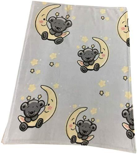 EXKLUSIV HEIMTEXTIL Manta para bebé (75 x 100 cm), diseño de oso sobre luna