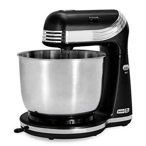 Dash Stand Mixer (Electric Mixer for Everyday Use): 6 Speed Stand Mixer with 3 qt Stainless Steel Mixing Bowl, Dough Hooks & Mixer Beaters for Dressings, Frosting, Meringues & More – Black (Renewed)