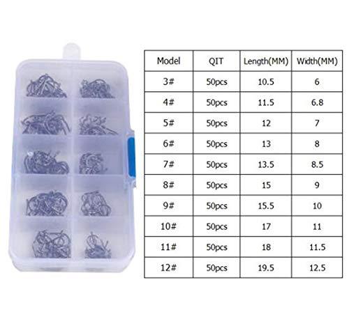 Anzuelos de pesca de pescado ganchos de acero al carbono de alta Conjunto 500pcs / Box Mixto Tamaño de púas plantilla gancho de acero al carbono de alta de anzuelos de pesca de la carpa Jig Head for F