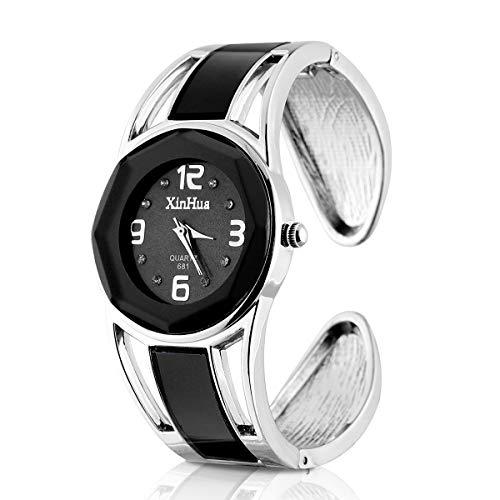 ele ELEOPTION Armband Design Quarz Uhr mit Strass Dial-Edelstahl-Band für Frauen(Schwarz)