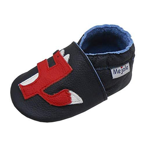Mejale - Zapatos de piel para bebé, diseño de mocasines de bebé, (Renard Bleu Marine), 6-12 mois
