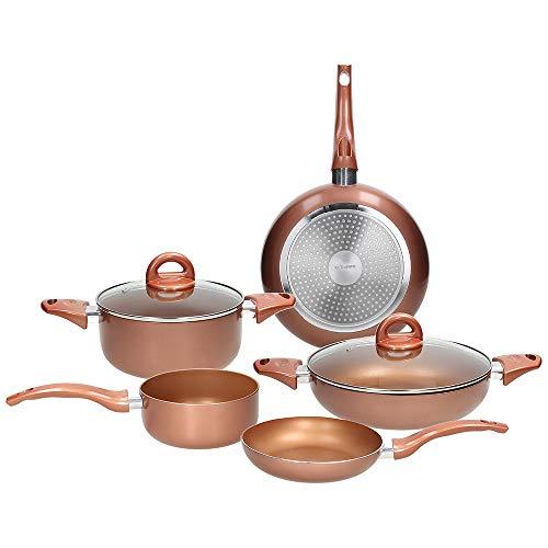 Tognana Copper & Charcoal Rame Batteria di pentole e padelle 7 Pezzi, Alluminio Stampato