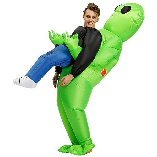 Reuvv - Disfraz de alienígena verde que lleva a un humano, inflable, para cosplay, fiestas, Halloween, poliéster, Verde, L-adult