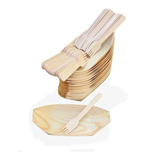 MEGYAR Platos de Bambú Ecológico en Forma de Bote para Catering – Paquete de 50 Platos Desechables Incluye 50 Tenedores de Madera Natural Resistentes y Fuertes