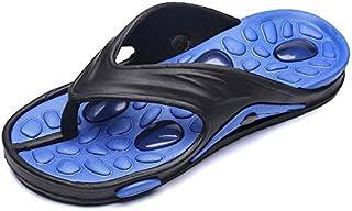 Mens Flip Flops Breathable Lightweight Wear-resistant Non-slip Thick Sole Massage Shoes (Color : Blue, Shoe Size : 41)