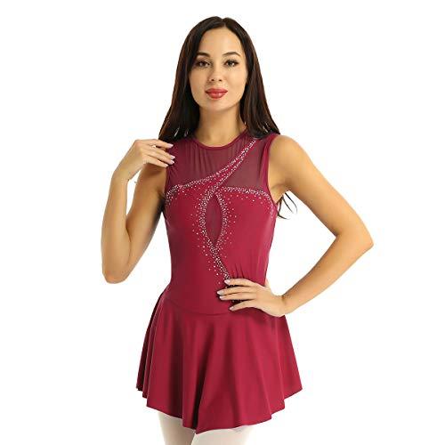 Agoky Maillot de Patinaje Artístico con Falda para Mujer Vestido de Danza Clásica Diamante Leotardo de Ballet Gimnasia Rítmica Traje Patinadora Vino Rojo X-Small
