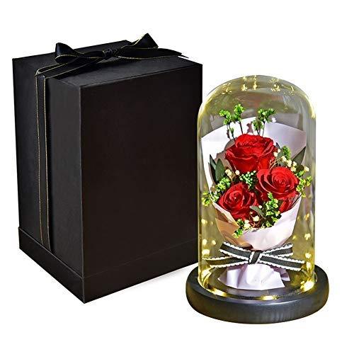 Ramo de rosas encantadas, elegante cúpula de cristal con luces LED, regalos mágicos para decoración del hogar para el día de San Valentín, fiesta, aniversario de boda