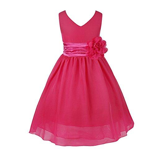 IEFIEL Vestido Largo Elegante para Niña Vestido de Flores Gasa 2-14 Años de Fiesta Boda Ceremonia
