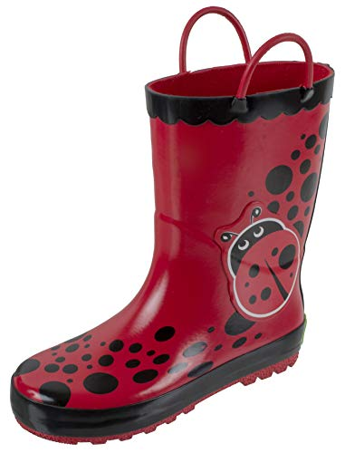Rainbow Daze Kids Rain Boots with Easy-on Handles, Lady Bug Print,Waterproof,100% Rubber,Little Kid Size 9/10,Red