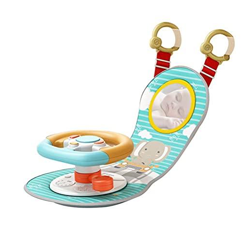 Yuciya Rueda de Coche Juguetes para Bebés, Volante Asiento de Coche para Bebés Juego de Simulación Juguete para Conducir, Compañero de Viaje para Bebés con Sonidos y Luces para Bebés