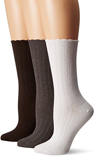 No Nonsense Women's Scallop Pointelle Sock 3-Pack, Assorted, 4-10