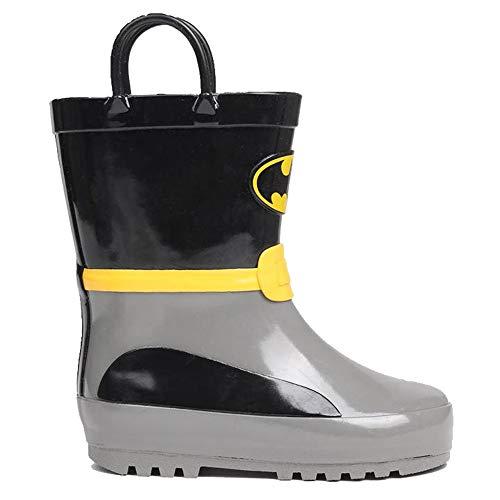 Kids Boys Girls Printed Pull Loops Wellies Shoes Boots (C12 (31), Batman)