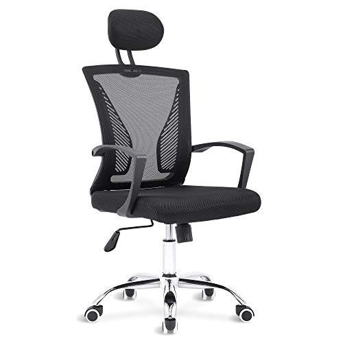 Sigtua, Ergonomischer Höhenverstellbarer Computerstuhl office Stuhl Ergonomischer Schreibtischstuhl Chefsessel drehbarer Bürostuhl PC Stuhl Schwarz