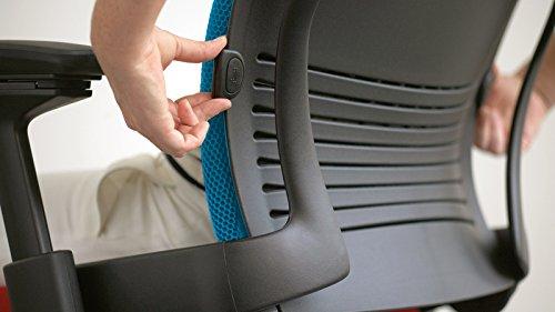 Steelcase Leap Task Chair: Platinum Base - 4D Adjustable Arms - Headrest - Standard Carpet Casters