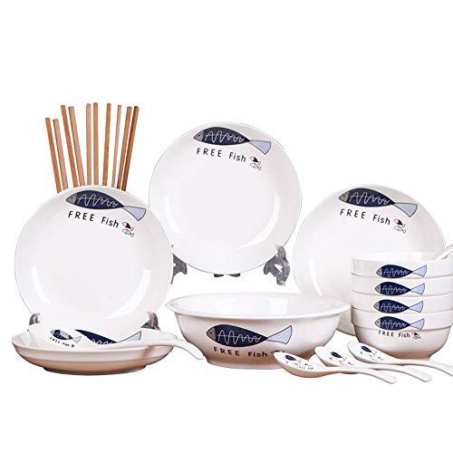 GYZD Juego de vajillas para el hogar de cerámica 24 Piezas (para 1-4 Personas)