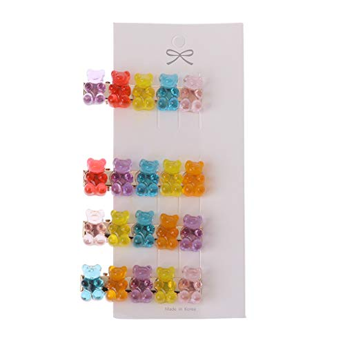 ZZALLL Pinzas para el Cabello de Oso Panda de Dibujos Animados Mixtos Pasador gomoso Oso Caramelo Horquilla niños niñas - 5,5 cm