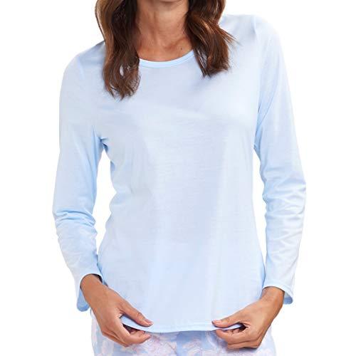 Rösch - Damen Schlafanzug Shirt - Langarm (42 Arctic Blue)