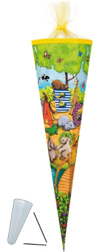 alles-meine.de GmbH Schultüte - Tier ABC 70 cm - mit Filzabschluß - Zuckertüte ALLE Größen - Zootiere / Tiere rund bunt