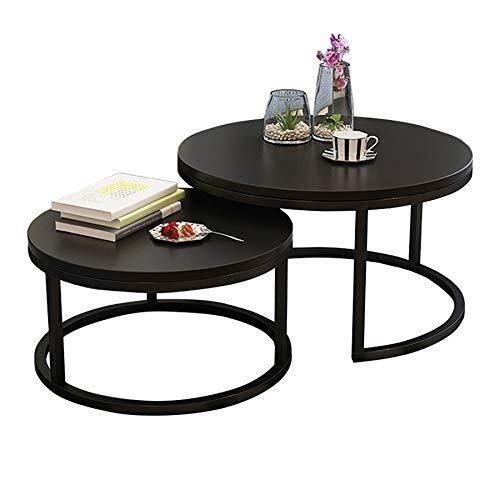 WSHFHDLC Mesas de café redondas de 2 mesas de centro para sala de estar, mesa auxiliar moderna negra para espacios pequeños, muebles del hogar, mesa de recepción pequeñas mesas de café