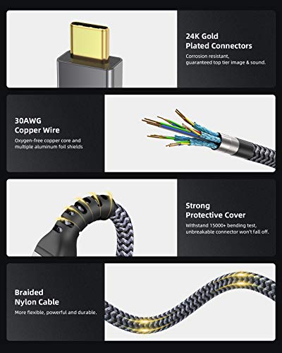 USB4 Compatible with Thunderbolt 4 Cable 6.6Ft, Maxonar 40Gbps Cable with 100W Charging and 8K@30Hz 5K@60Hz or Dual 4K Video Compatible with Thunderbolt 4, USB, Thunderbolt 3, USB-C