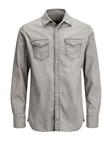 JACK & JONES Jjesheridan Shirt L/s Camisa Vaquera, Gris (Light Grey Denim Fit:Slim), Medium para Hombre