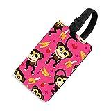 Etiqueta de equipaje ajustable para niños, etiquetas identificadoras de bolsa con cubierta de privacidad, accesorios de etiqueta de viaje para maleta, avión, mochilas, mono de bebé y plátano