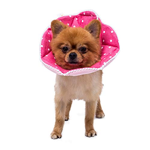WZ PET Adjustable Dog Cat Cone,Soft Recovery Cat Cone Collar,Dog Protective Collar for Cats and Puppy Surgery,Pink,Small