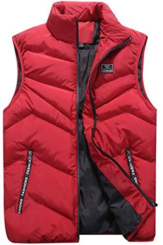 WIEAYUMEI Chaleco de plumón para hombre con cremallera con bolsillos para calentar el cuerpo, chaleco de invierno con cremallera, chaquetas ligeras para senderismo