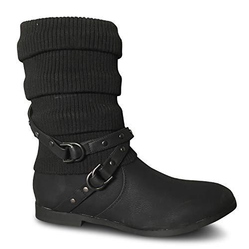Schuhtraum  Damen Stiefeletten Strick Boots Stiefel gefüttert flach Herbst Winter ST2912, Schwarz Warm Gefüttert ,  39 EU
