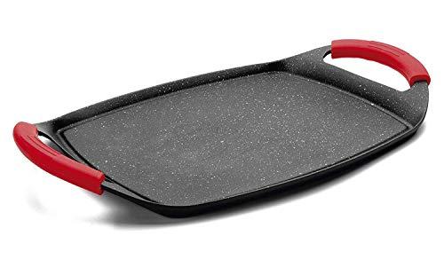 MGE - Plancha Grill - Asadora - Efecto Piedra - Revestimiento Antiadherente - Asas Rojas de Silicona - 47 x 29 cm