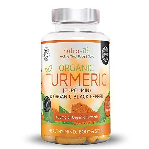 Gélules de Curcuma Turmeric 100% Bio - 600 mg Avec Poivre Noir Organique - 120 Capsules végétales - 4 mois d'approvisionnement - Certifié Par SOIL ASSOCIATION & Fabriqué Au Royaume-Uni par Nutravita