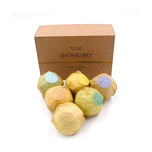 Bath Bombs Gift Set 6 2oz Fizzies with Pure Essential Oils, Coconut Oil, Epsom Salt, and Kaolin Clay, Kid Safe, Great for Spa or Bubble Bath, Best Gift for Women,Halloween Christmas,Thanksgiving