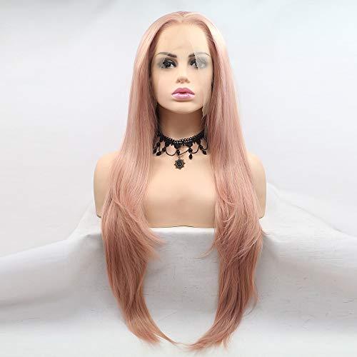 Scra AC Peluca de color rosa de longitud media peluca de pelo recto señoras hecho a mano encaje europeo y peluca conjunto peluca
